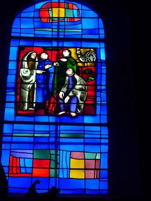 Le reniement de St. Pierre (Evangile selon St. Matthieu - Passion du Christ, XXVI, versets 69-75 et Marc, XIV, 72)
